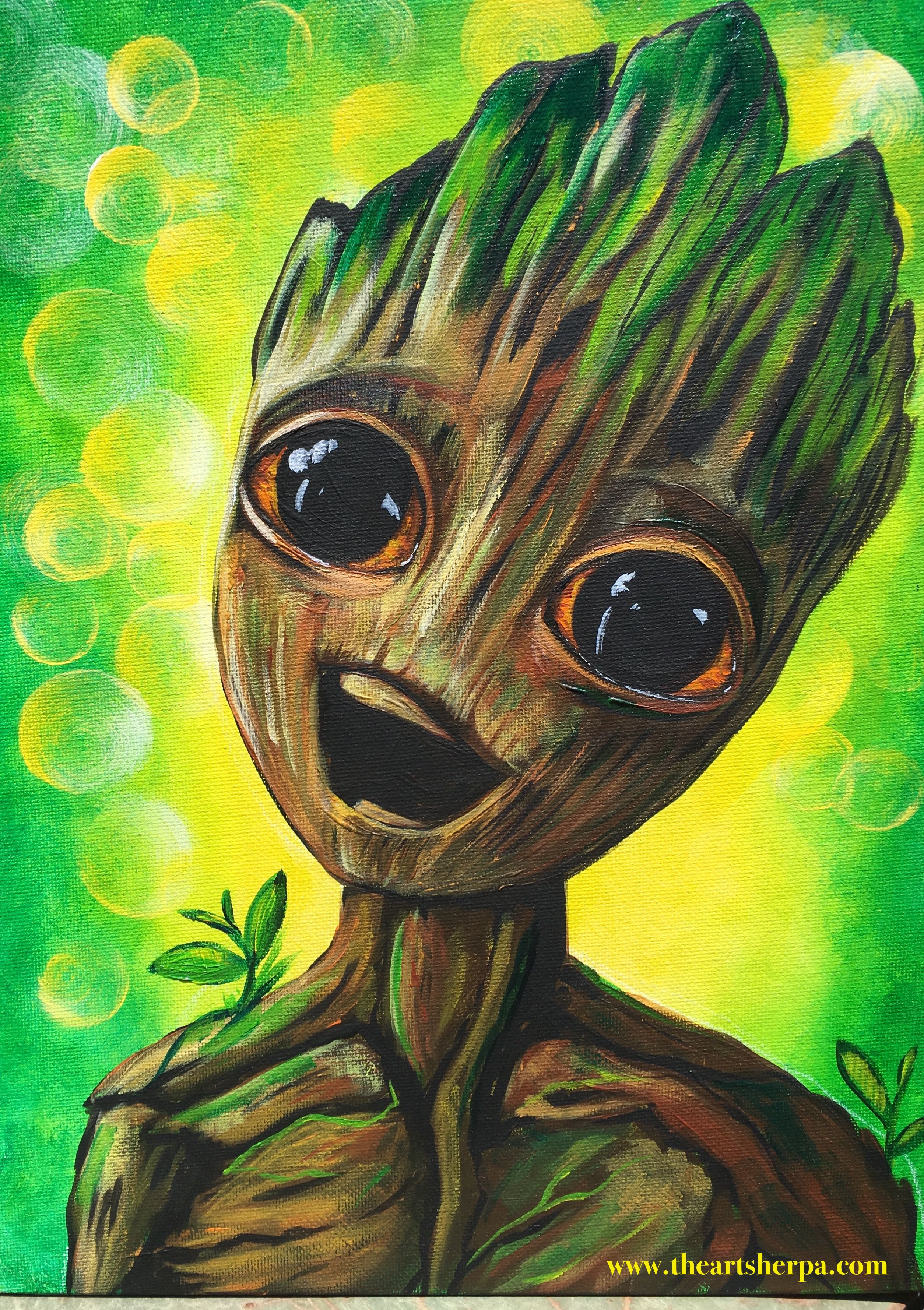 Live baby groot guardians of the galaxy 2 beginners learn for Teaching kids to paint on canvas