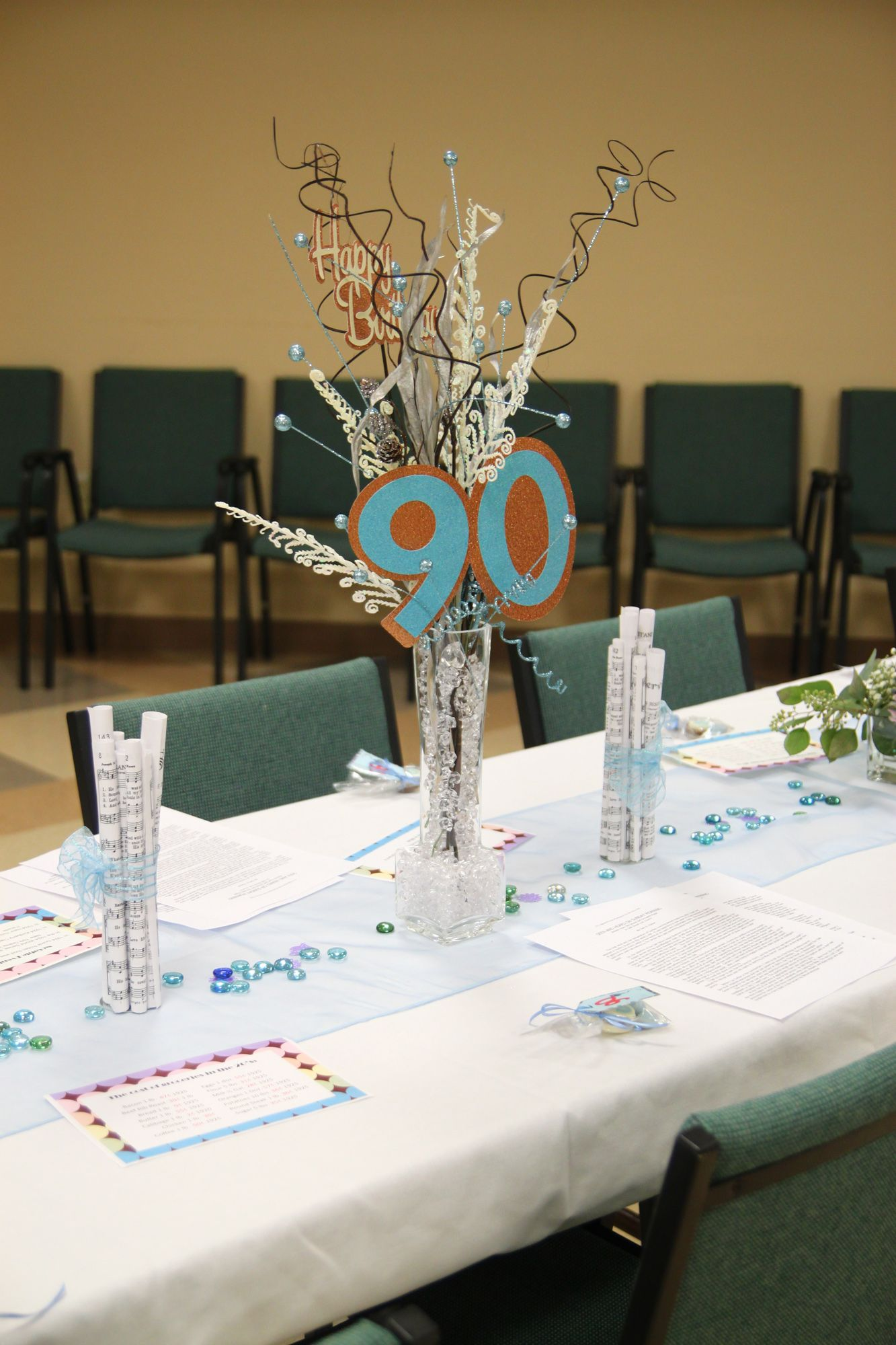 Centerpieces for mom 39 s 90th birthday mom 39 s 90th birthday for 80 birthday decoration ideas