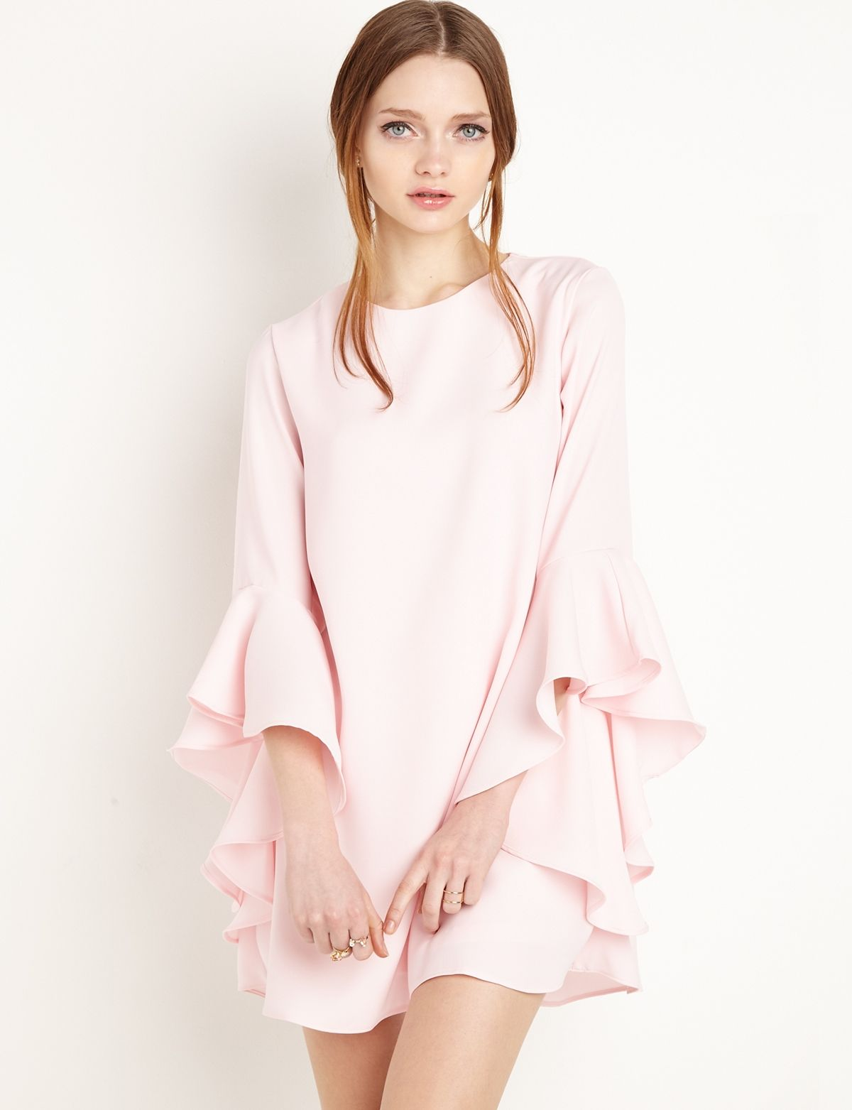 Pink Ruffled Bell Sleeve #Babydoll Dress by New Revival #fashion ...