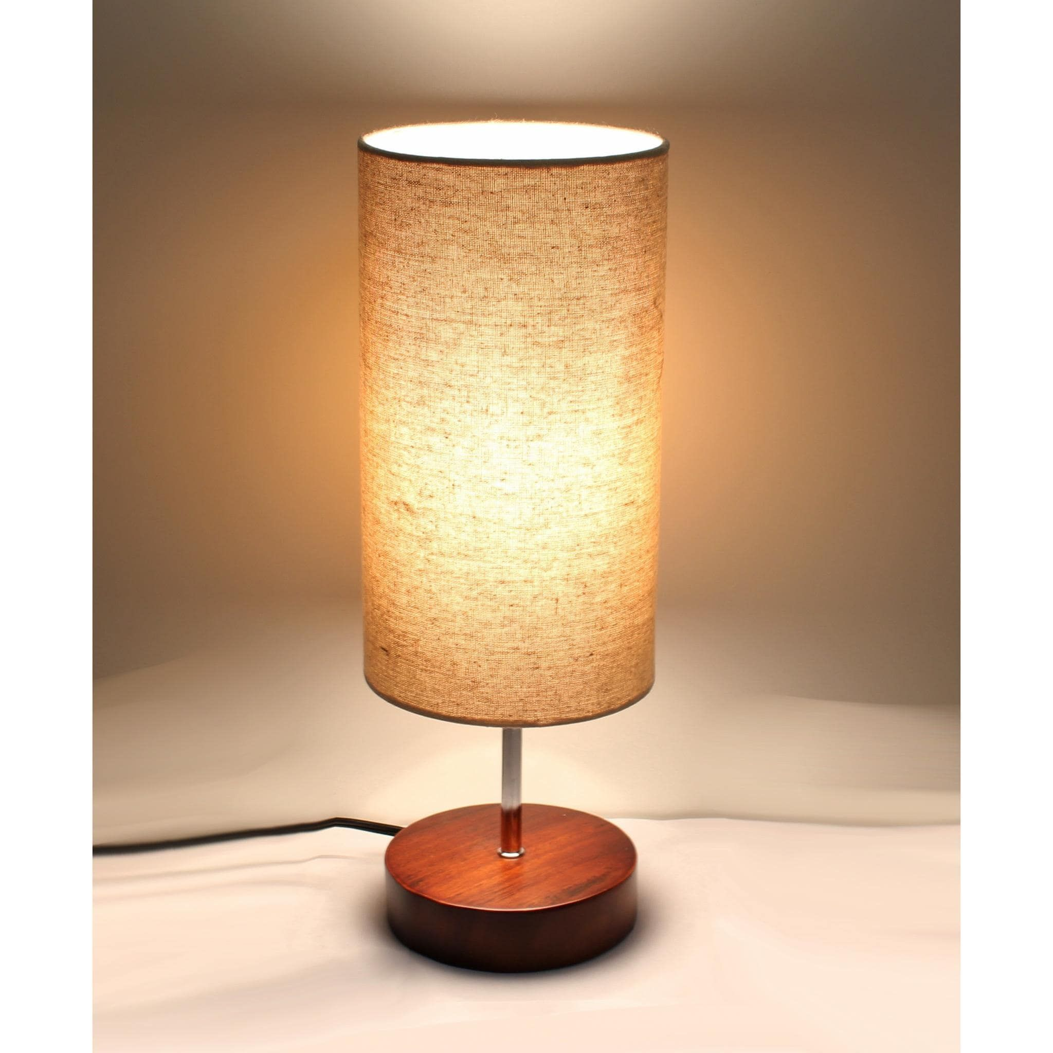Kanstar 17 Minimalist Round Sandalwood Base Bedside Desk Living Room Lamp  With Fabric Shade, Brown