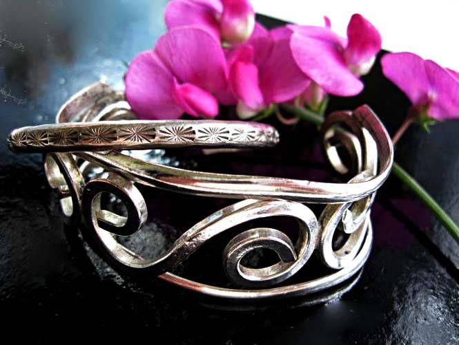 Mexico Sterling Silver Bracelet Pair, Signed E. Peina Zuni