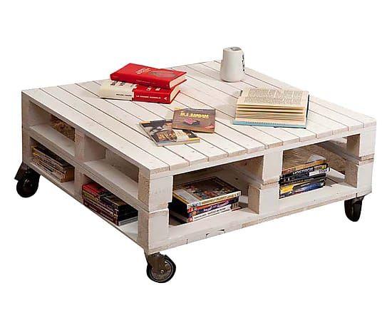 Pallet Tavolino ~ Tavolino basso in abete con ripiano inferiore pallet bianco