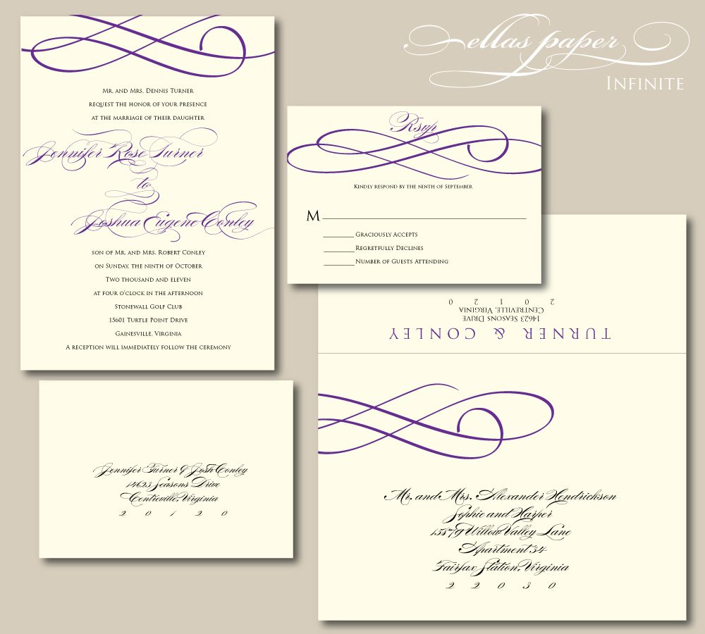 Purple Wedding Invitation Infinite By EllasPaper On Etsy