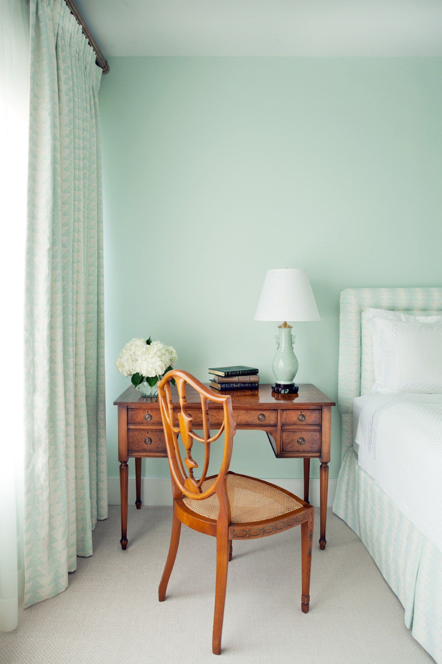 Guest Bedroom Painted In Blue Green Color, Benjamin Moore Opal Essence