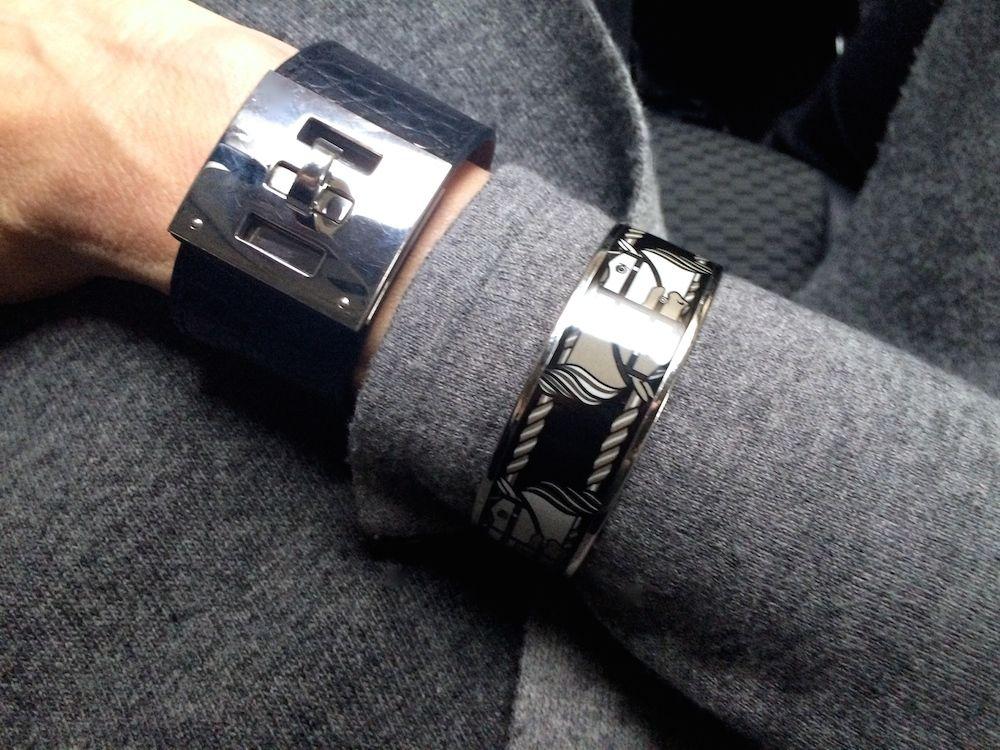 Hermes Kelly Dog bracelet in black croc and Quadrige enamel bracelet
