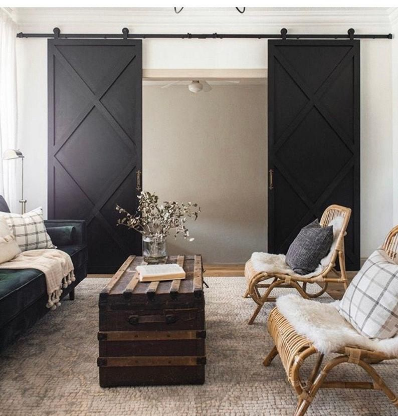 Custom Made Double X Farmhouse Sliding Barn Doors Contemporary