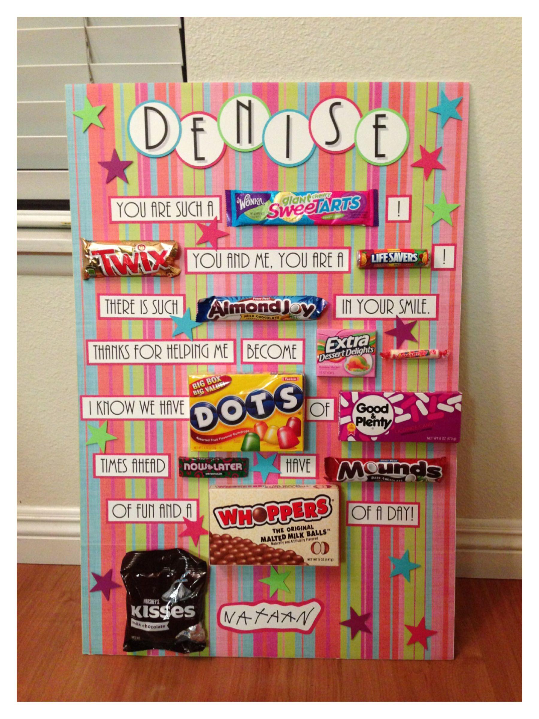 Classroom Birthday Ideas For A Teacher : Candy card for birthday teacher appreciation or any