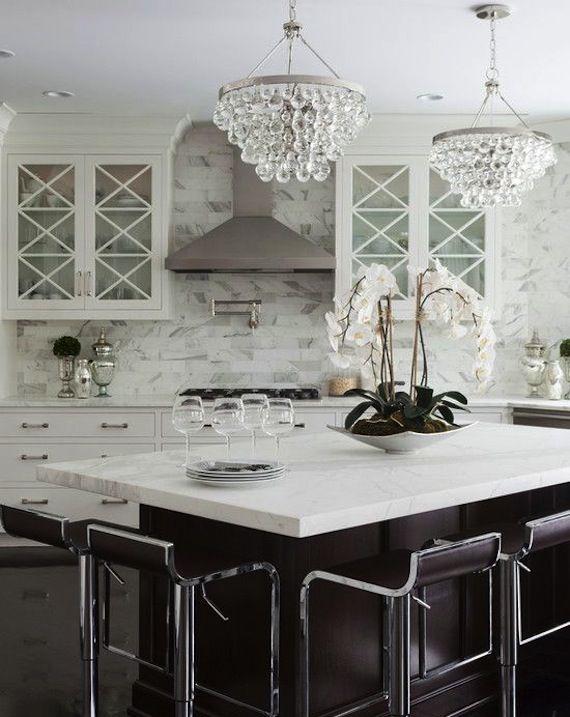 Interiors I Love Robert Abbey Bling Chandelier White Kitchen