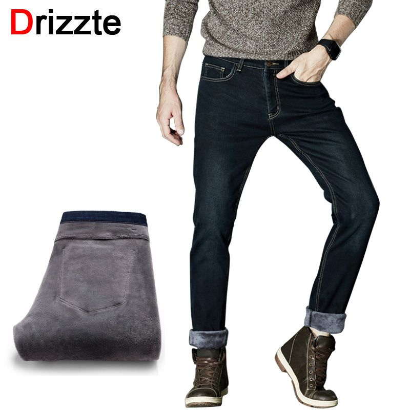 c71b4a6dccab Drizzte Winter Thermal Warm Flannel Lined Stretch Jeans Mens Comfortable  Fleece Pants Trousers
