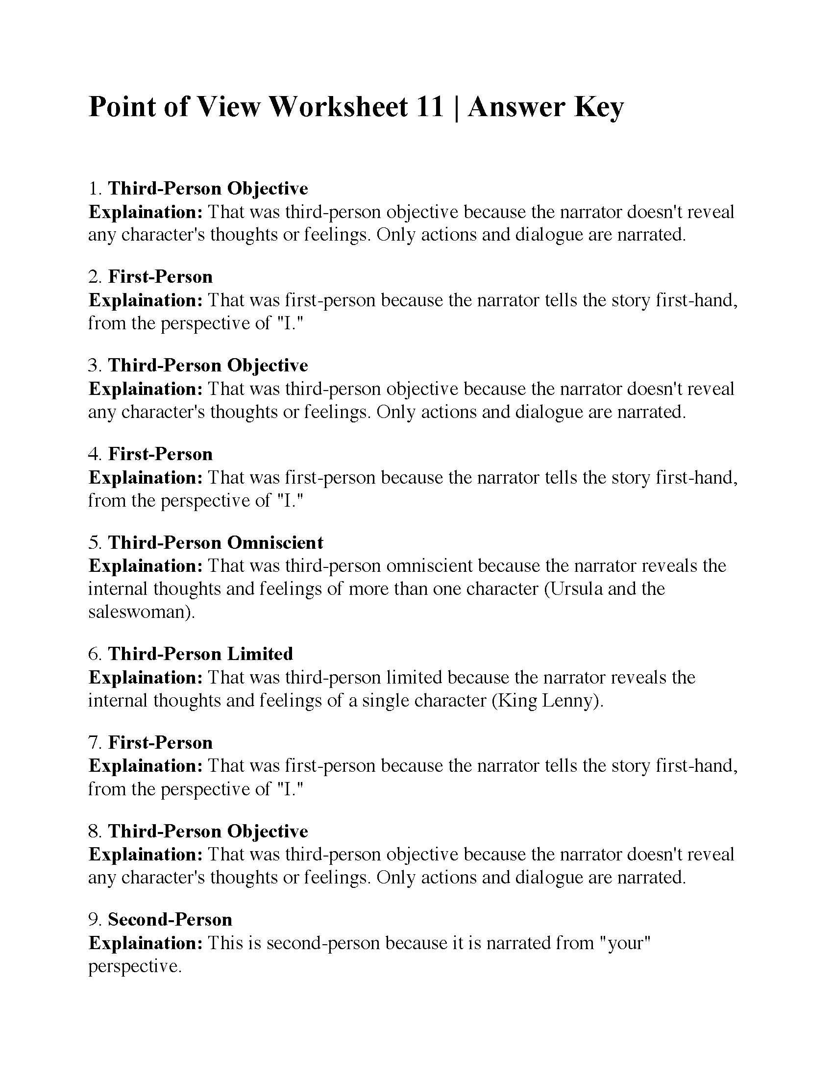 Point Of View Worksheet Answers