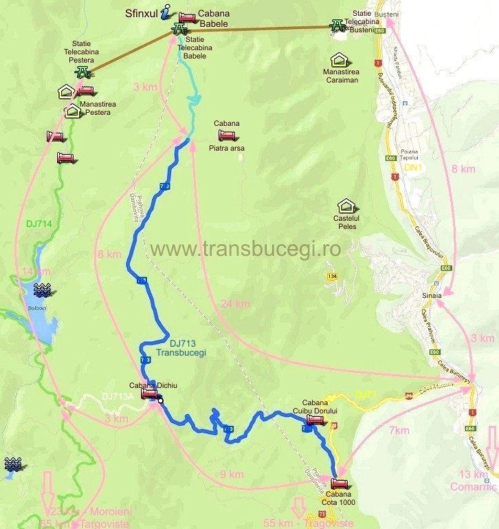 Harta Transbucegi Sfinxul Călătorii Hartă