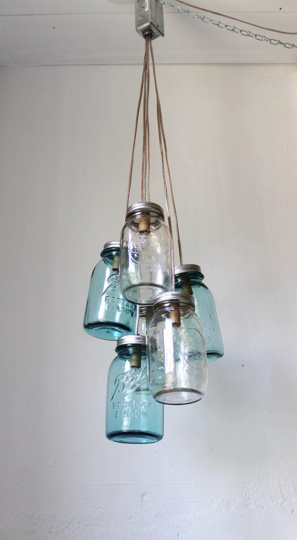 Mason Jar Chandelier, Handcrafted Rustic Hanging Lighting Fixture, 6 Clustered Clear and Antique Aqua Blue Jars, BootsNGus Lights & Decor #jarchandelier super easy to diy #jarchandelier