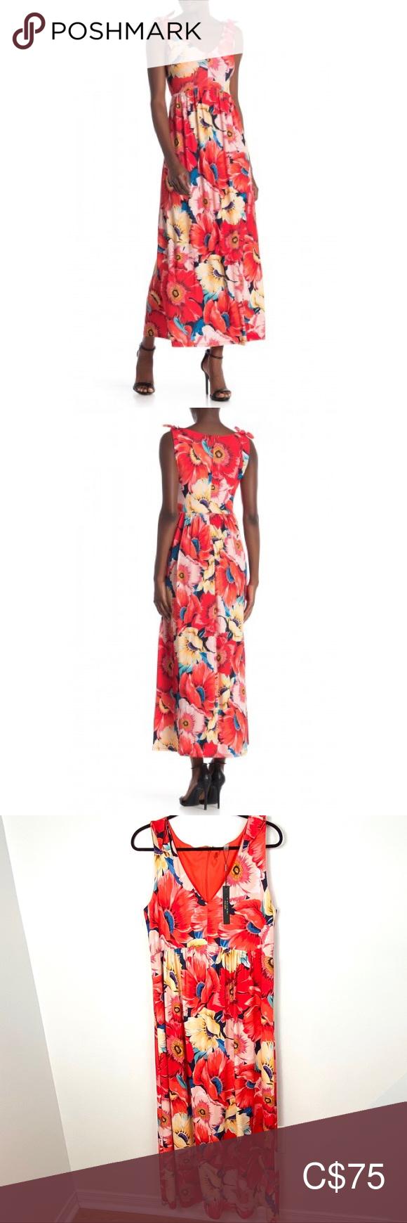 Nwt T Tahari Sleeveless V Neck Maxi Dress Size 12 Size 12 Maxi Dress Vneck Maxi Dress Dresses [ 1740 x 580 Pixel ]