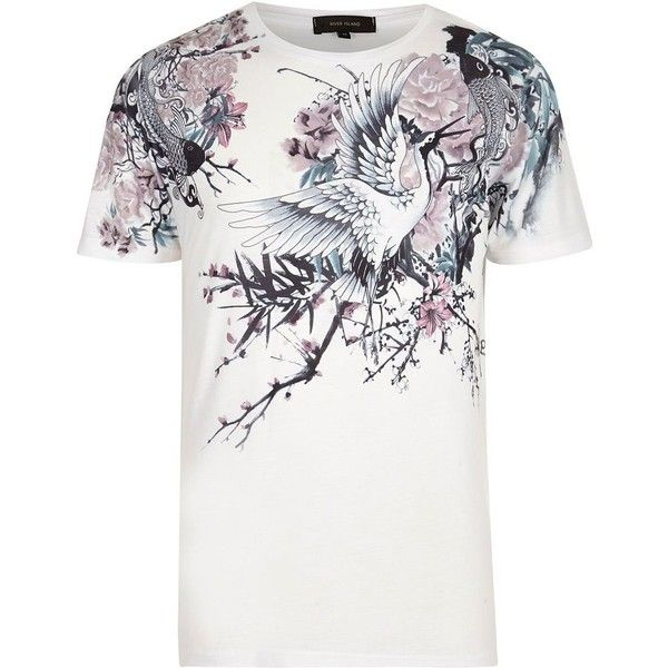 0663deca River Island White Oriental floral print t-shirt (25 CAD) ❤ liked on  Polyvore featuring men's fashion, men's clothing, men's shirts, men's t- shirts, white, ...