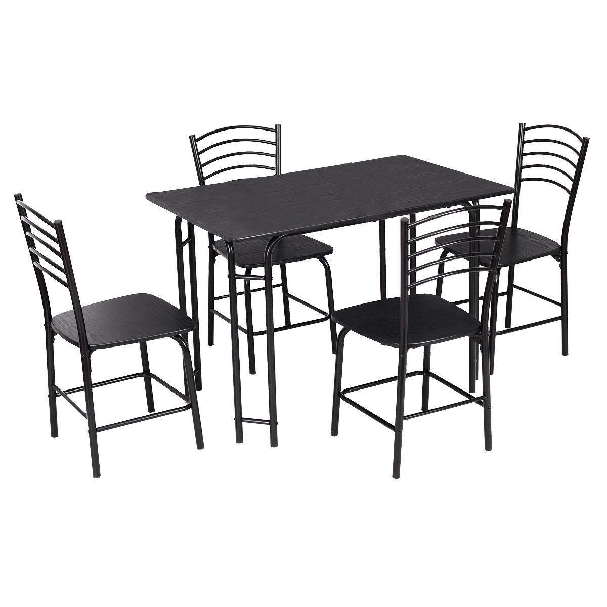 Amazon Com Giantex 5 Pcs Black Dining Set Table 4 Chairs Steel Frame Home Kitchen Furniture Modern Kitchen Tables Metal Dining Room Coffee Table Steel Frame