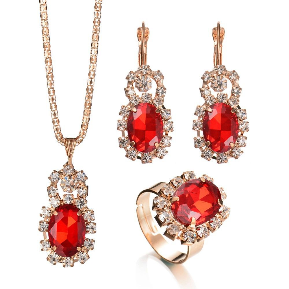 Trendy Bridal Jewelry Set Top Grade Austria Crystal Necklace Earring Ring Set  Wedding Party Gifts For Women 22cb4ef1932c