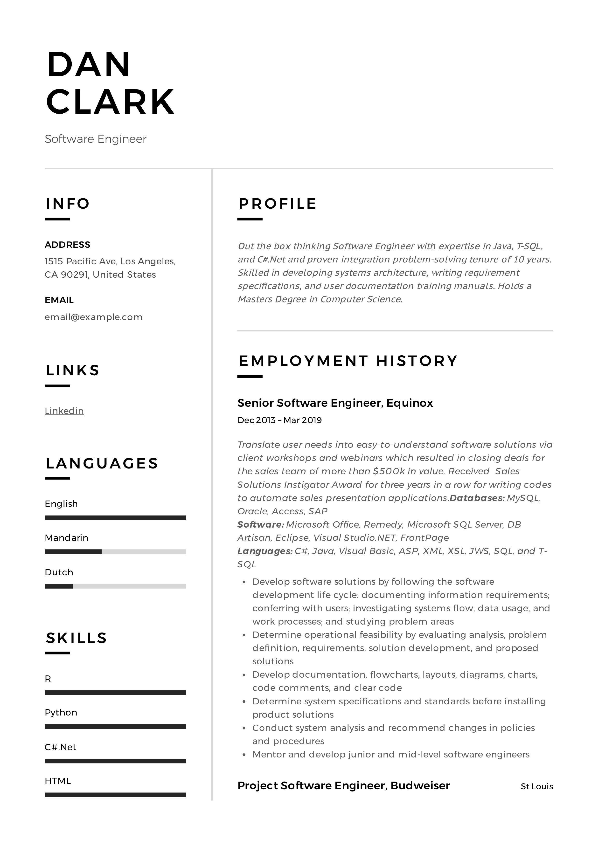 Software engineer Resume Sample softwareengineer in 2020