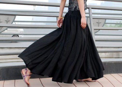 Maxi Skirt ,Black skirt, Long skirt,linen skirt, womens skirts ...