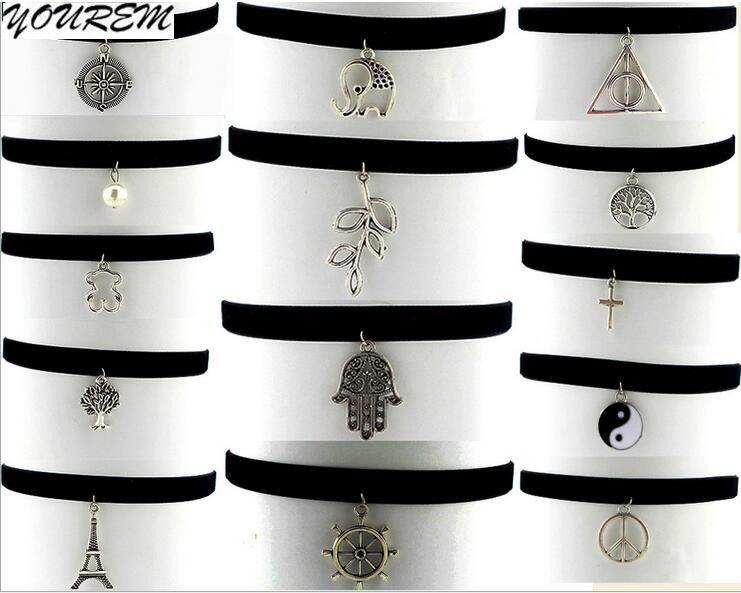Yin yang tai chi de la vendimia collares cachemira cinturón torre de árbol remache paz amor mano choker collar para las mujeres fj425 yourem