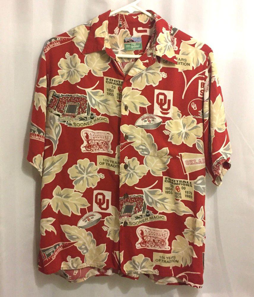 Reyn Spooner Univ Oklahoma OU Sooners Aloha Hawaiian Shirt 46 Chest XL   Silk  ReynSpooner  Hawaiian f465e82a4