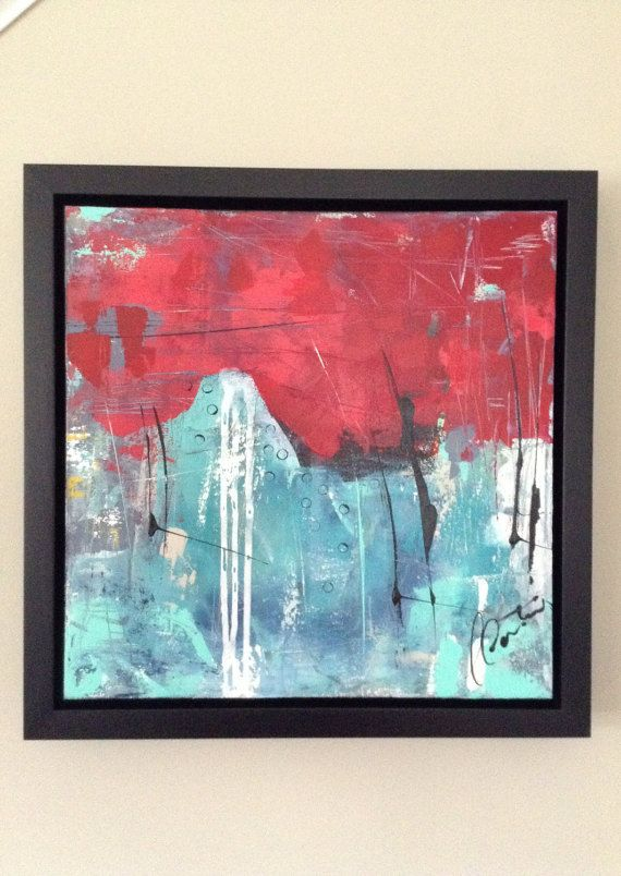 red abstract painting frame ikouart original art abstract canvas