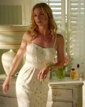 Revenge yellow and white lace dress