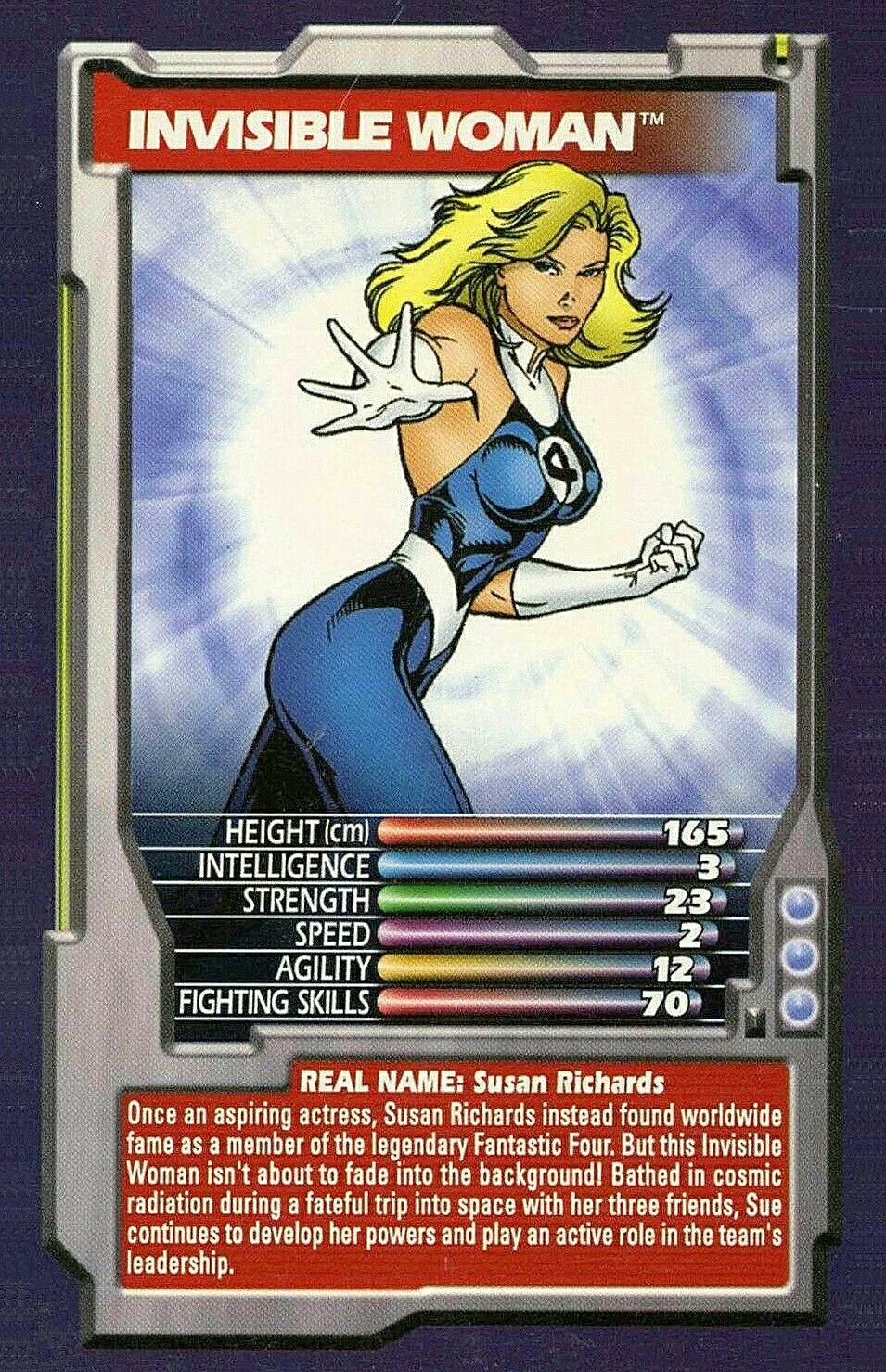 Top trumps comic heroes invisible woman Marvel cards