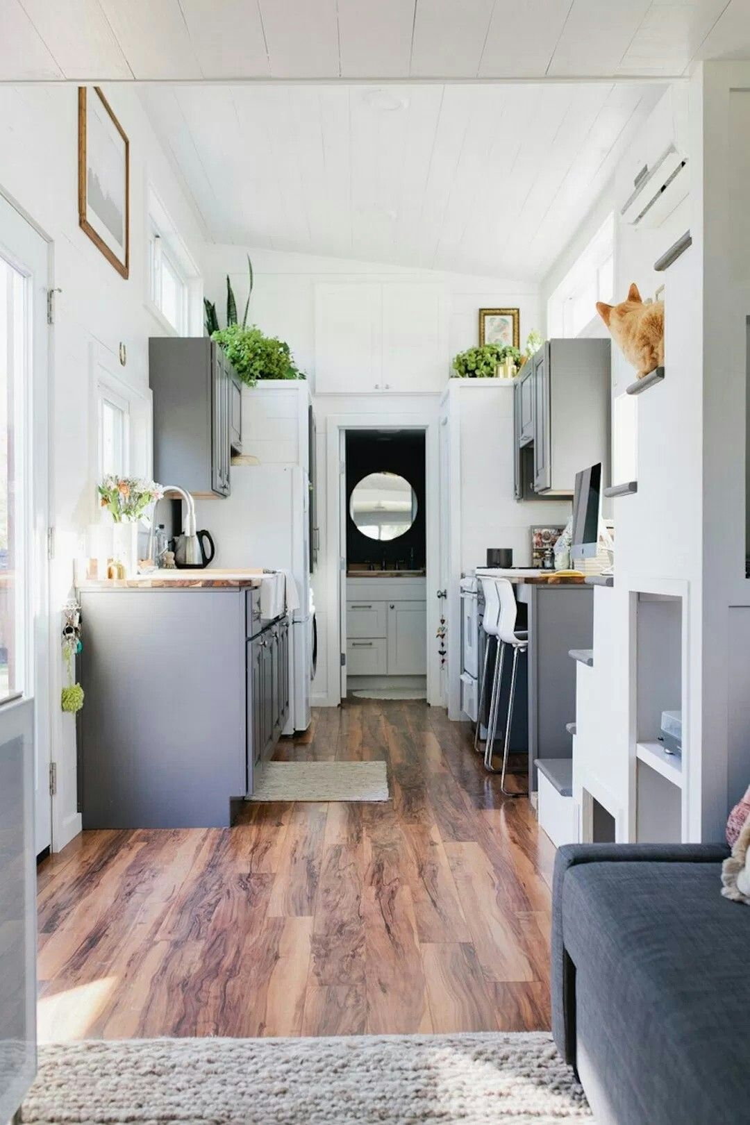 Tiny House Kitchen White Walls Gray Cabinets Tiny House Kitchen Tiny House Interior Tiny House Living