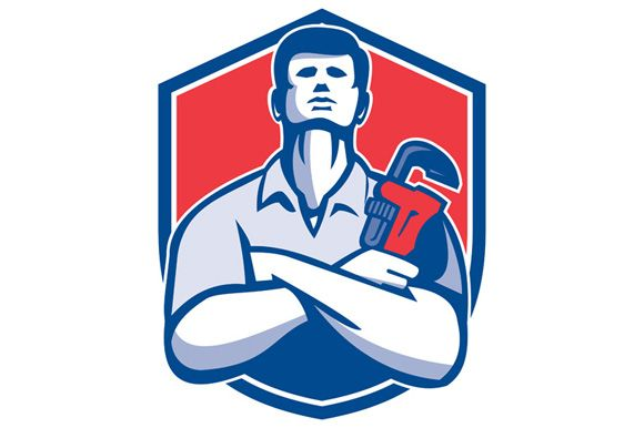 Illustration of a handyman plumber repairman worker arms folded holding monkey wrench viewed from front set inside shield crest on isolated background done in retro style.The zipped file