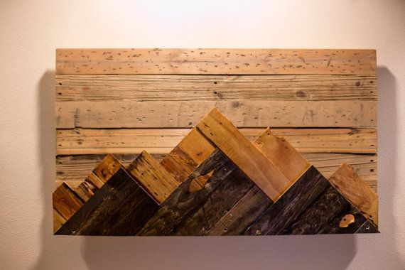 Wooden Mountain Range Wall Art Christmas Wood Wall Art