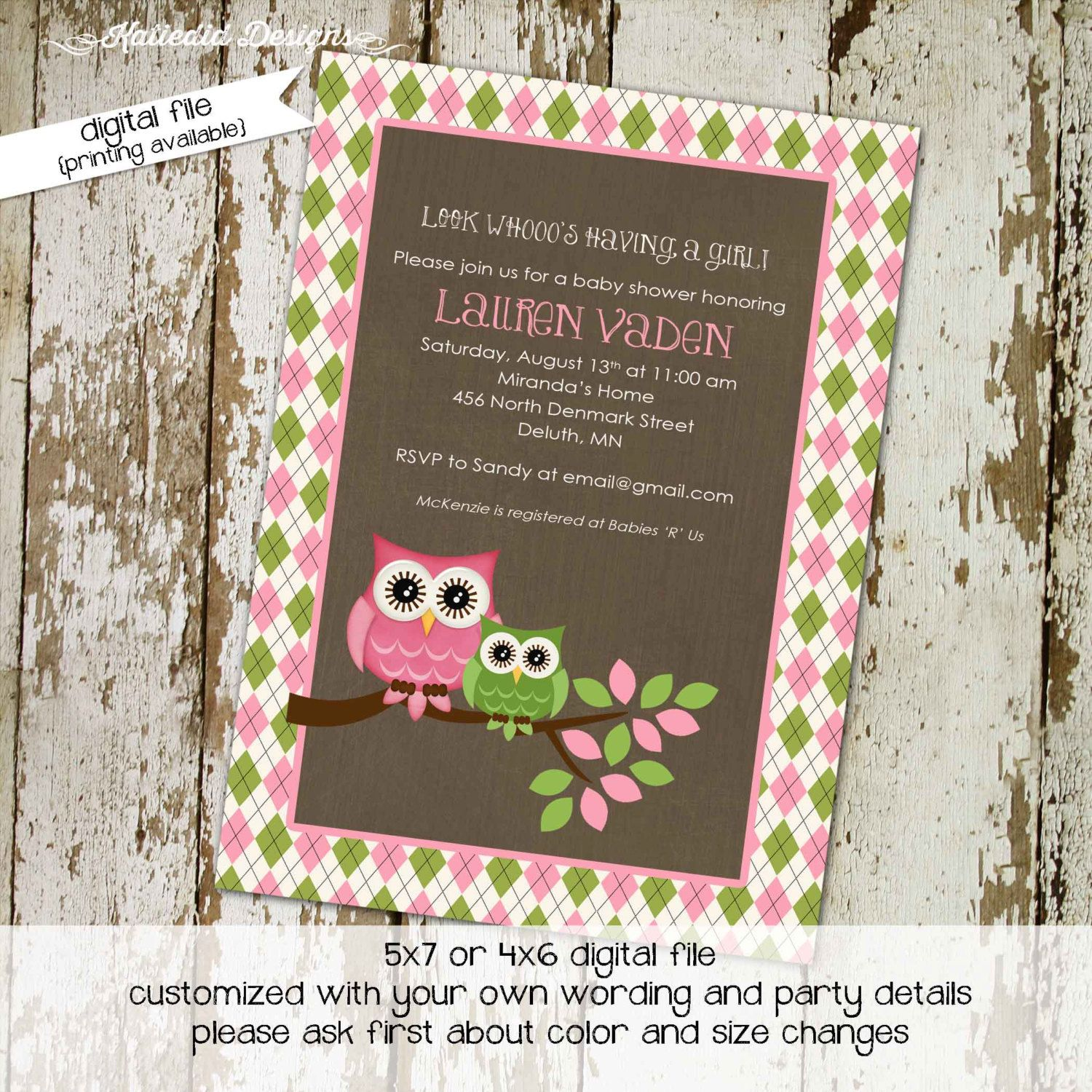 Color book party mn -  Babyshowerinvitation Owl Baby Shower Invitation Owl First Birthday Baby Girl Shower Argyle Couples Shower Book