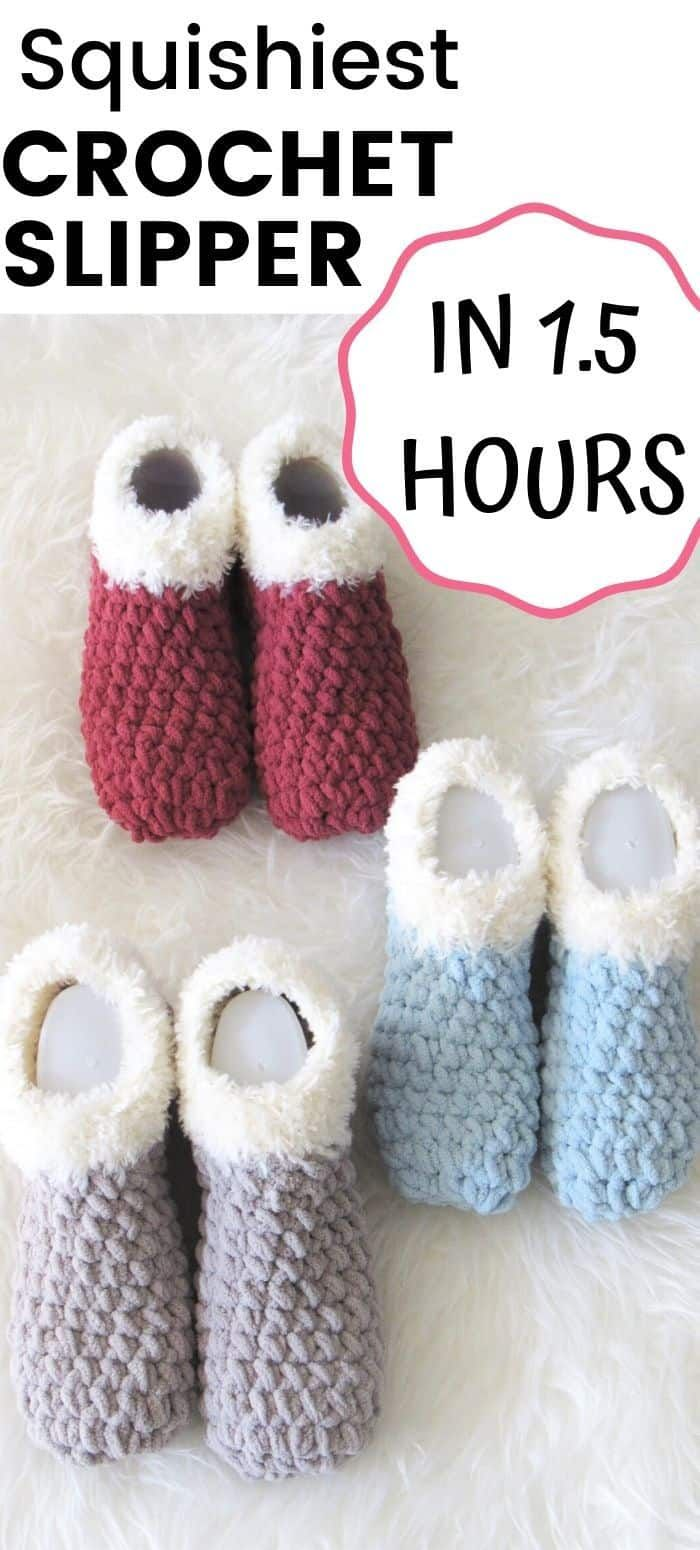 Try this squishiest chunky crochet slipper pattern ever. It is free and comes in 8 sizes for women. It is an easy adult pattern that works up in just 1.5 hours. This is a beginner friendly pattern for ladies. #crochetslipper, #crochetslipperpattern, #freecrochetslipper, #crochet