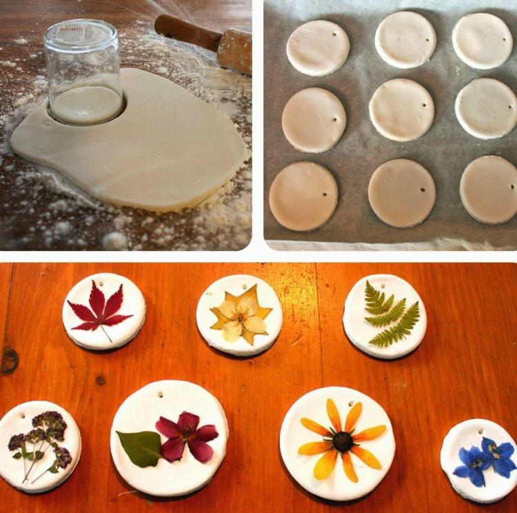 Gepresste Blumen Anleitung Basteln Ton Ausstechen Glas Bastelideen