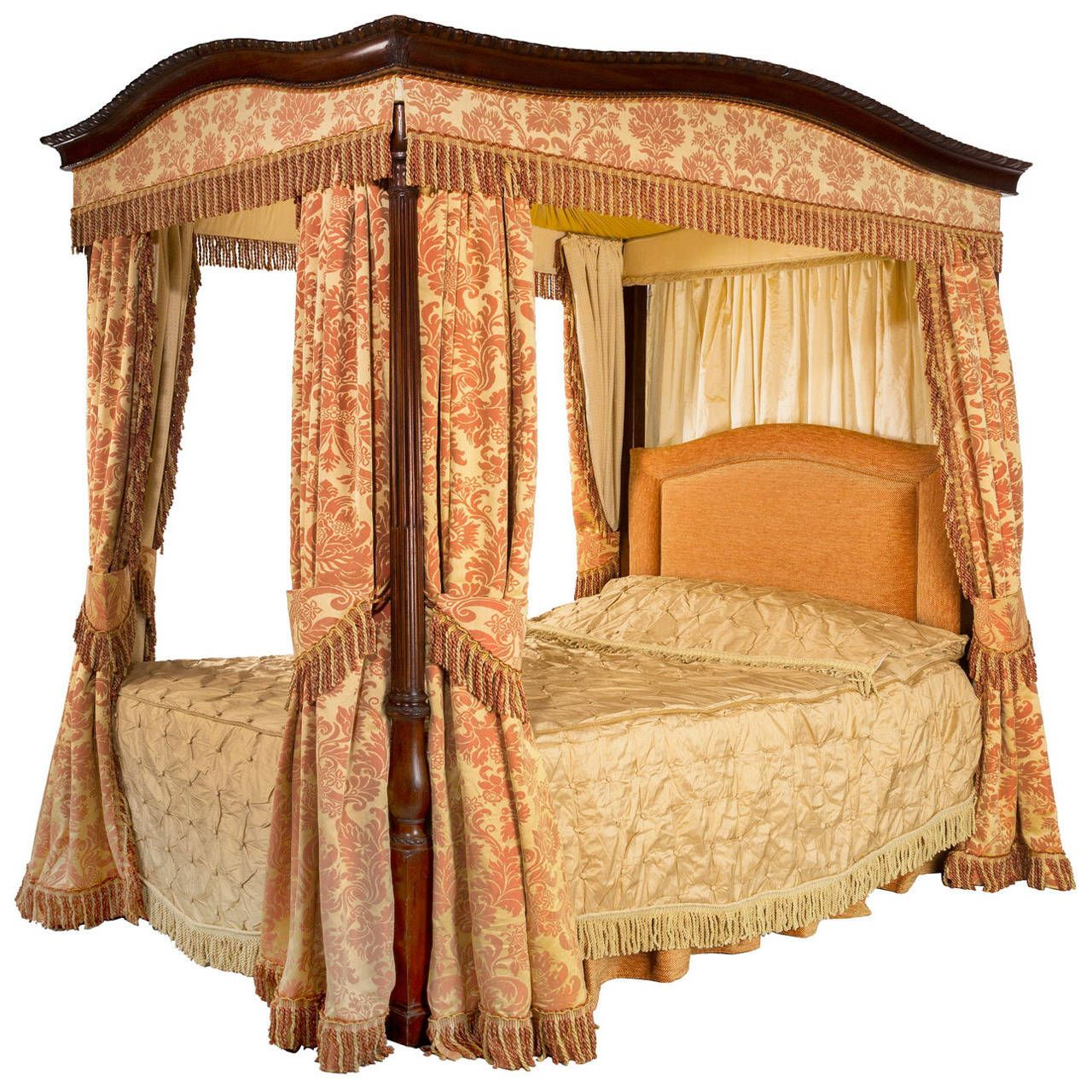 Early 20th Century Mahogany Frame FourPoster Bed Four