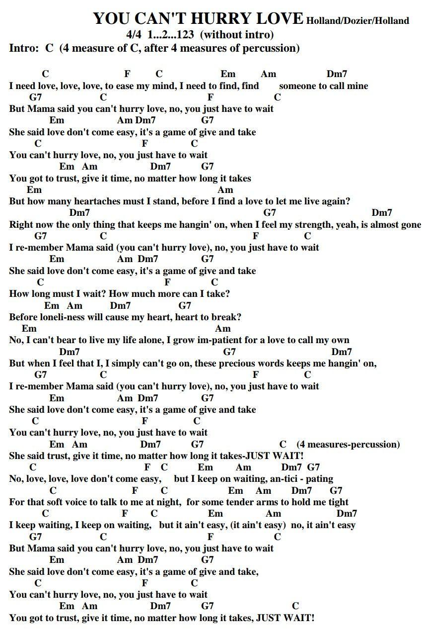 You Can T Hurry Love The Supremes Diana Ross Phil Collins Doctoruke Com Ukelele Songs Ukulele Songs Ukulele Music