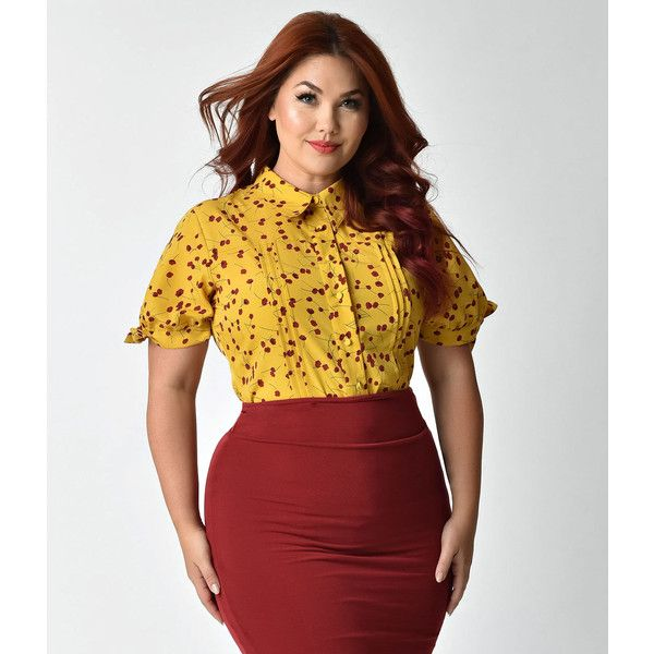 4be388615fcea Unique Vintage Plus Size Mustard Yellow   Red Floral Colvin Blouse ( 58) ❤  liked on Polyvore featuring plus size women s fashion