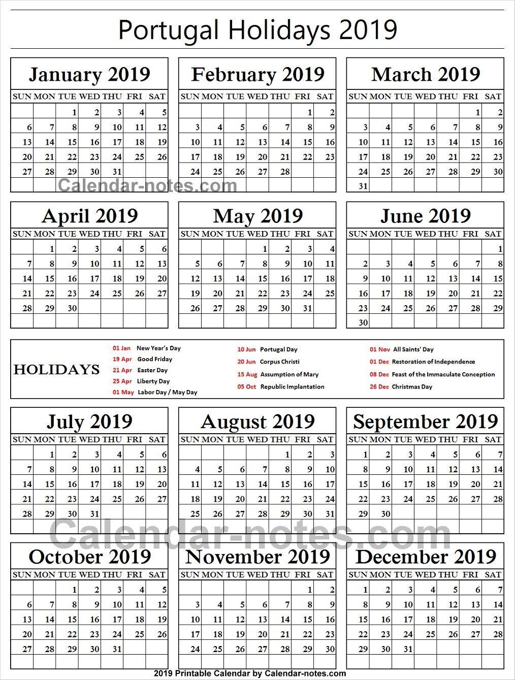 Christmas Holidays 2019 Calendar.Portugal Holiday 2019 Calendar School Holidays National