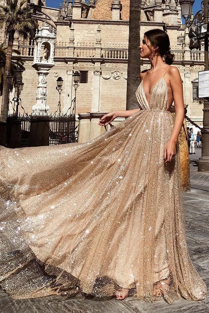 Champagne Sparkly Plunging Deep V-neck Prom Dress