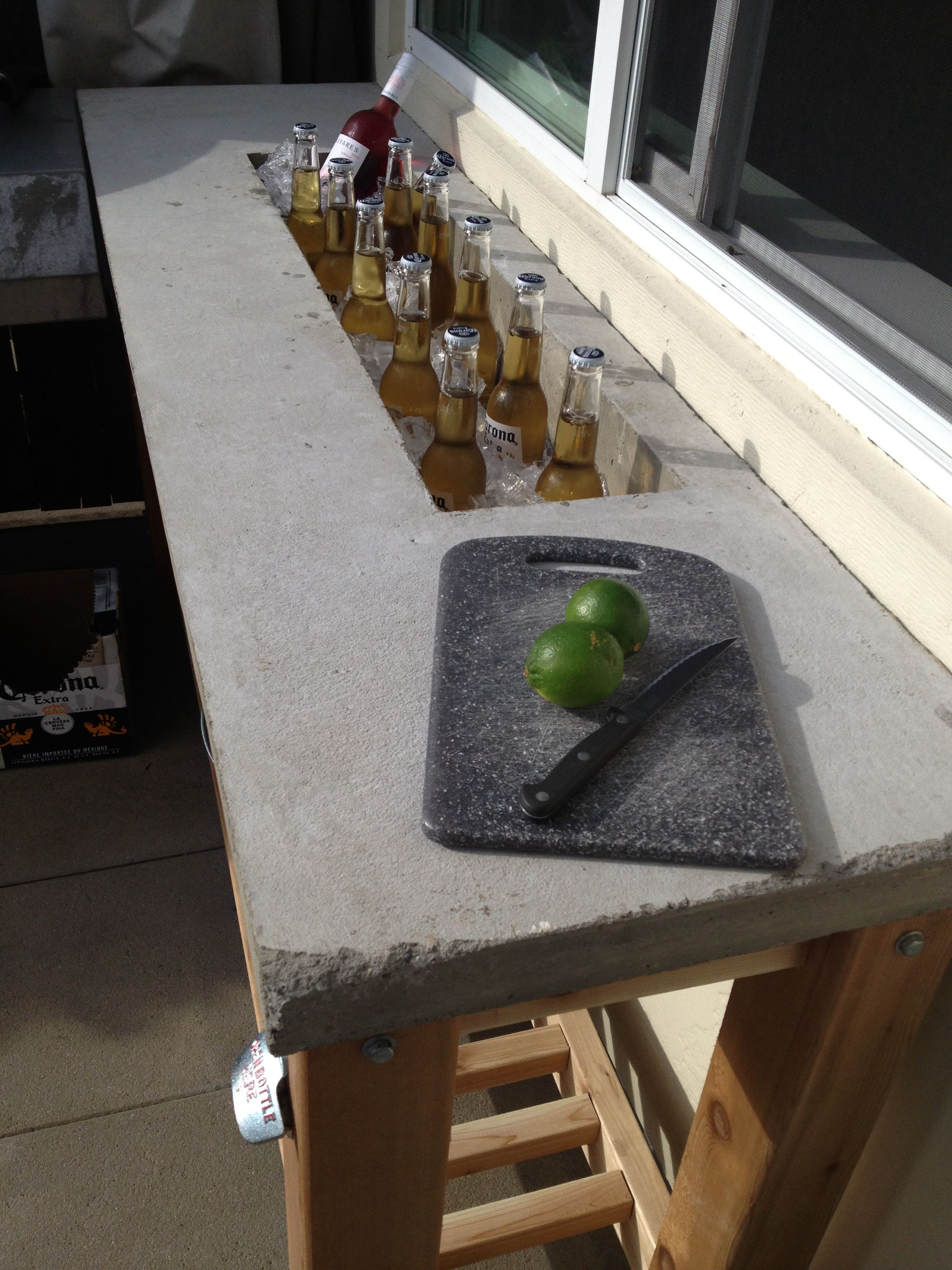 Table With Drink Trough I Am So Building This Outdoor Bar Concrete Counter Top Like