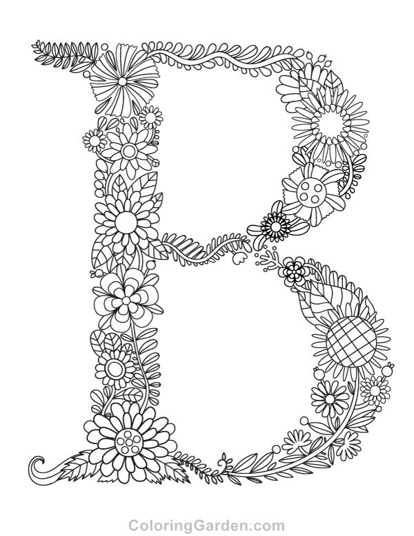 """free printable floral letter """"b"""" adult coloring page"""