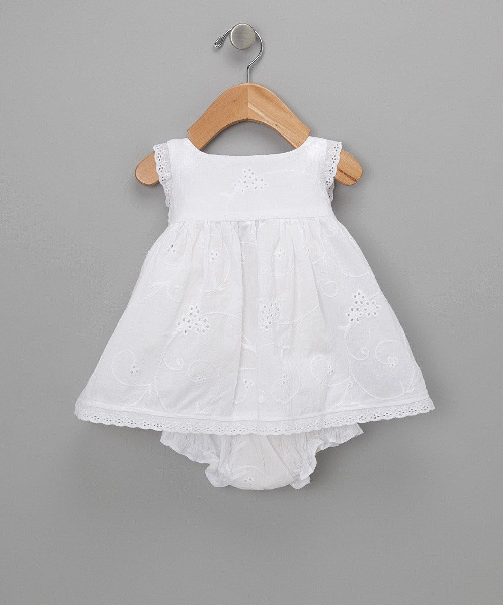 White Eyelet Dress & Diaper Cover - Infant