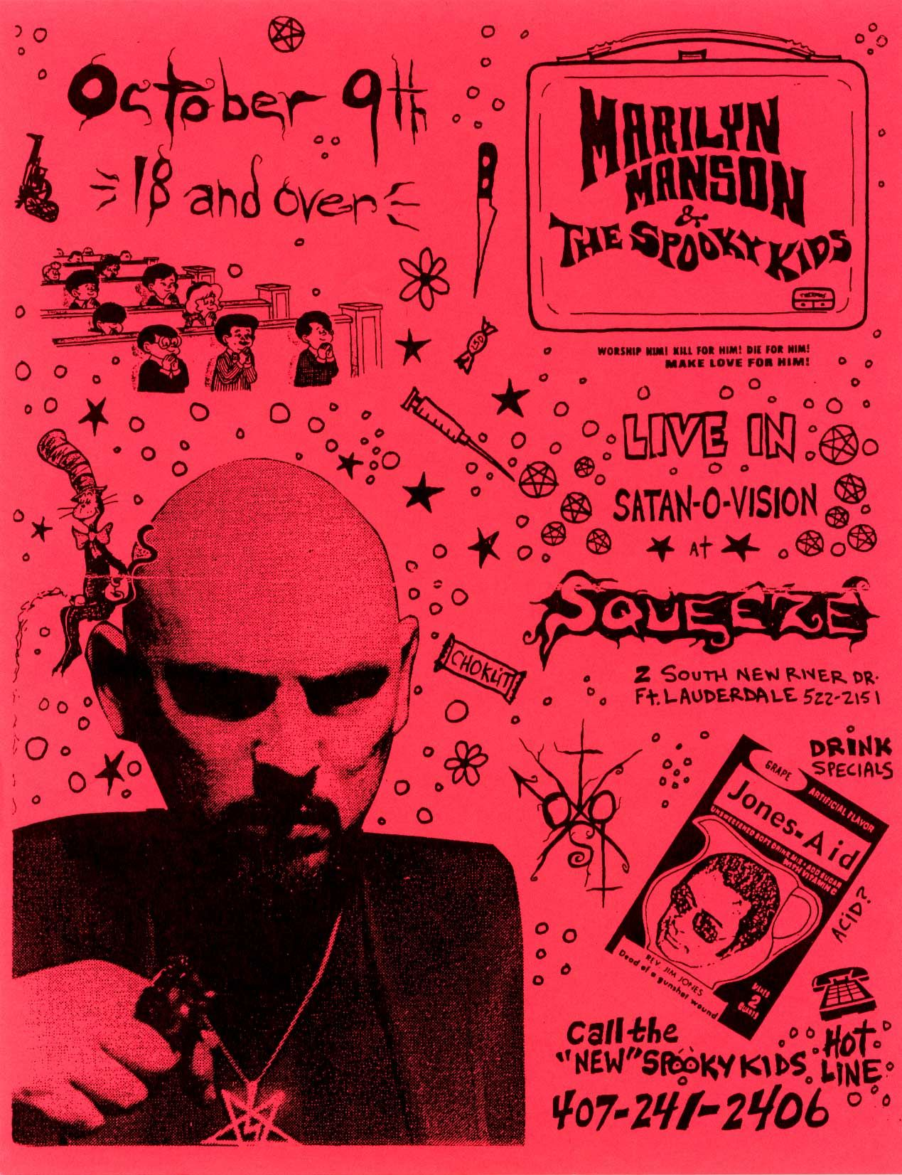 Early Marilyn Manson (and the Spooky Kids) concert flyer