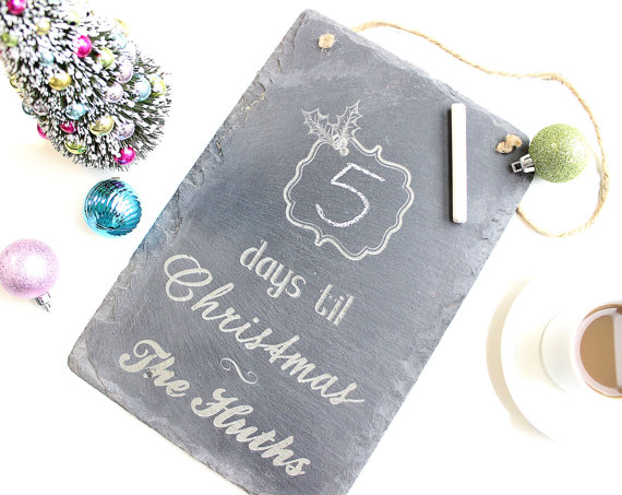 Personalized Slate Sign Hanging Slate Board Christmas Countdown