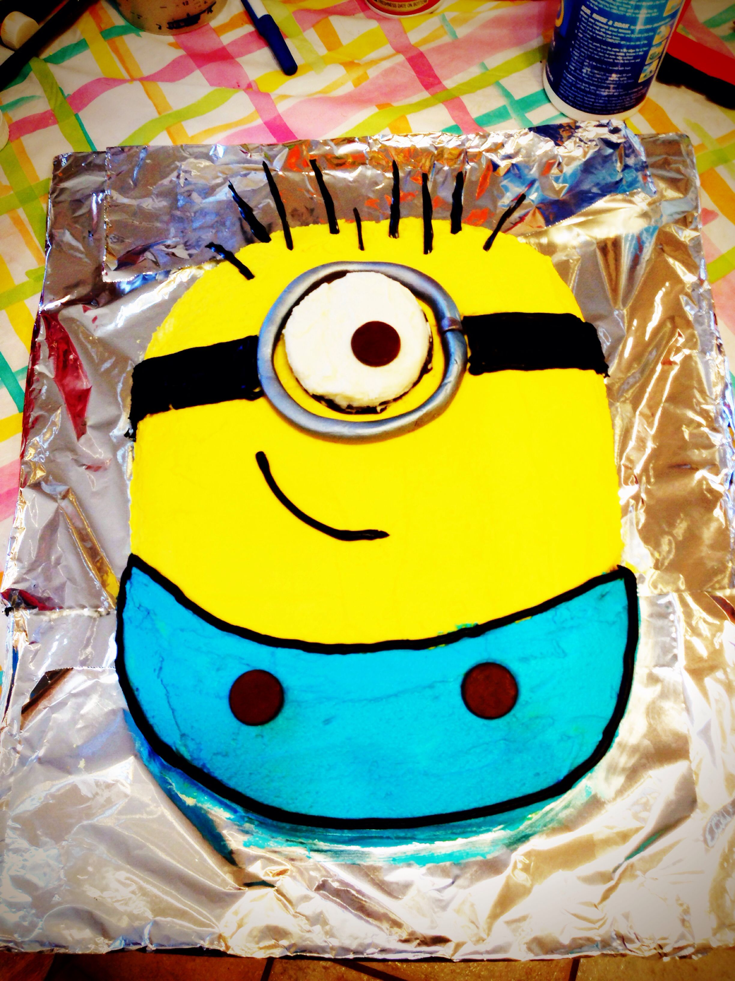 Minion cake I made for Louis for his bday!!
