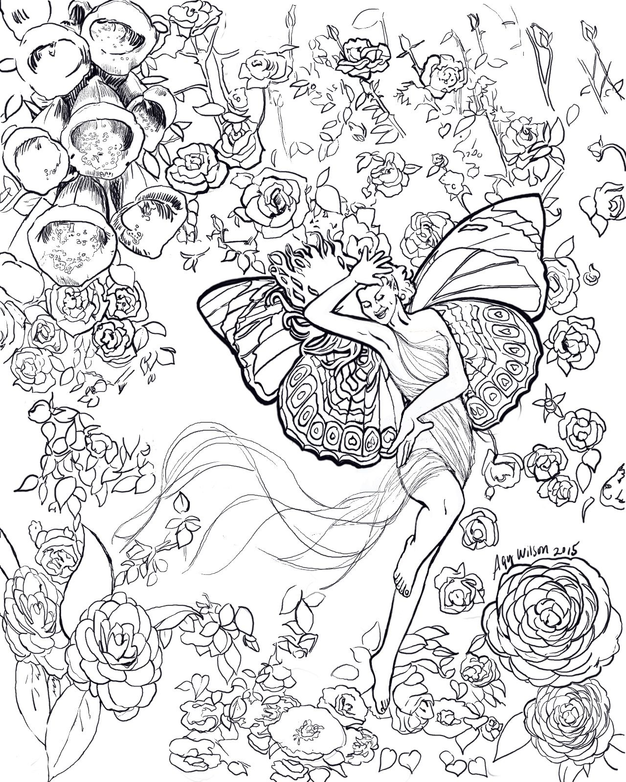 Working on a new all ages coloring book Angels and Fae e of