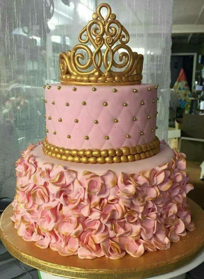 Bizcocho rosa y dorado reina o princesa sam pinterest for Decoracion de cumpleanos rosa y dorado