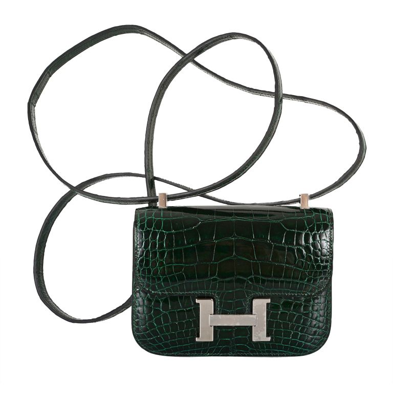 Impossible find! hermes constance bag crocodile vert fonce micro ... b67186635d4b0