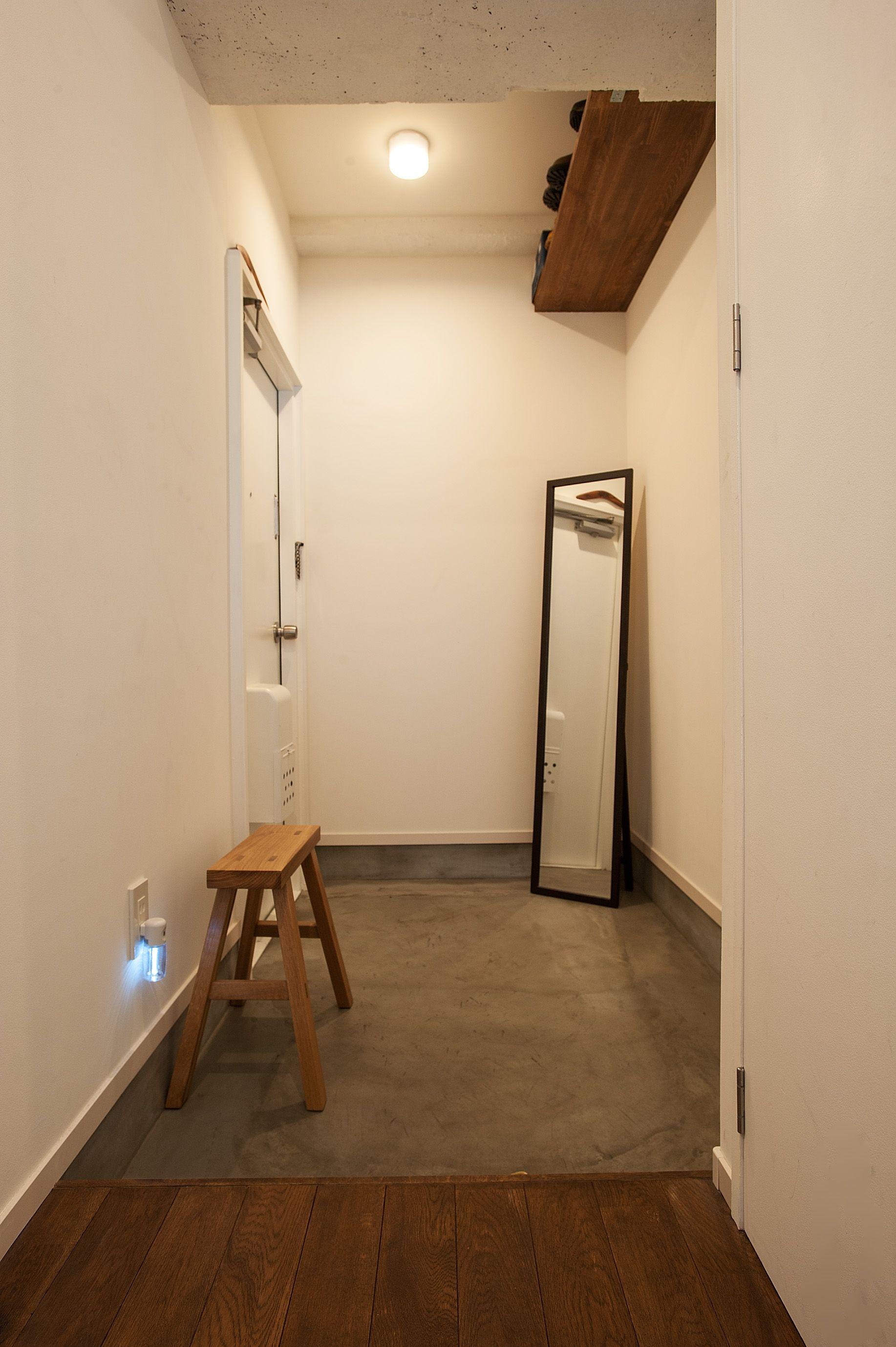 土間の玄関 土間 玄関 腰掛椅子 リノベーション 横浜リノベーション