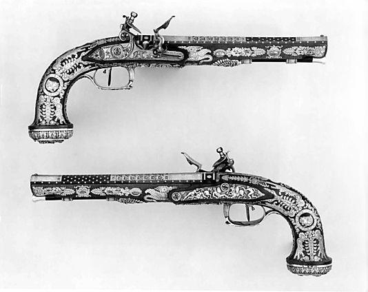 Cased Pair of Flintlock Pistols with Accessories