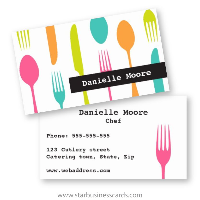 Modern chef or catering business card with colorful cutlery. Modern ...